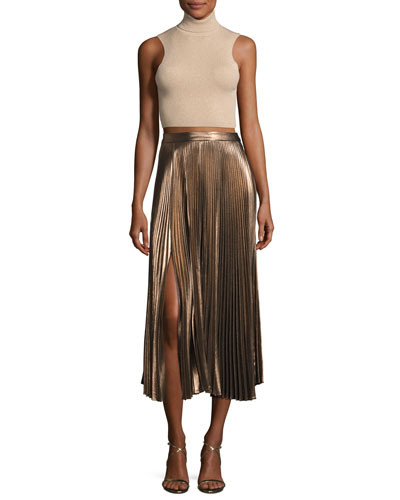 A.L.C. Metallic Pleated 'Bobby' Skirt