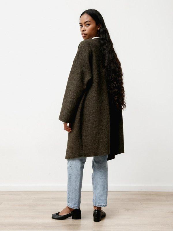 Priory Ura Boiled Wool  Coat - Heather Green