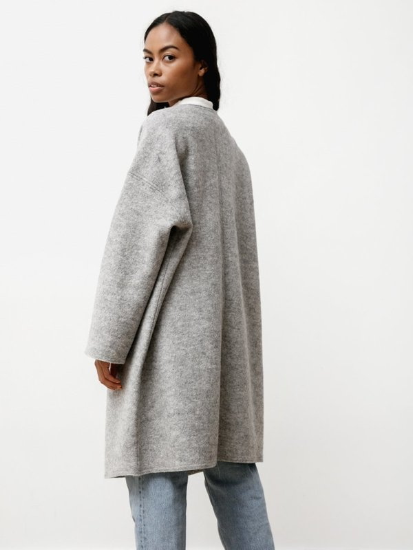Priory Ura Boiled Wool Coat - Heather Grey