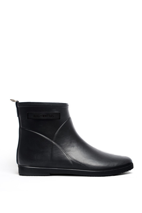 Ankle Rain Boot in Black on Black by Alice + Whittles