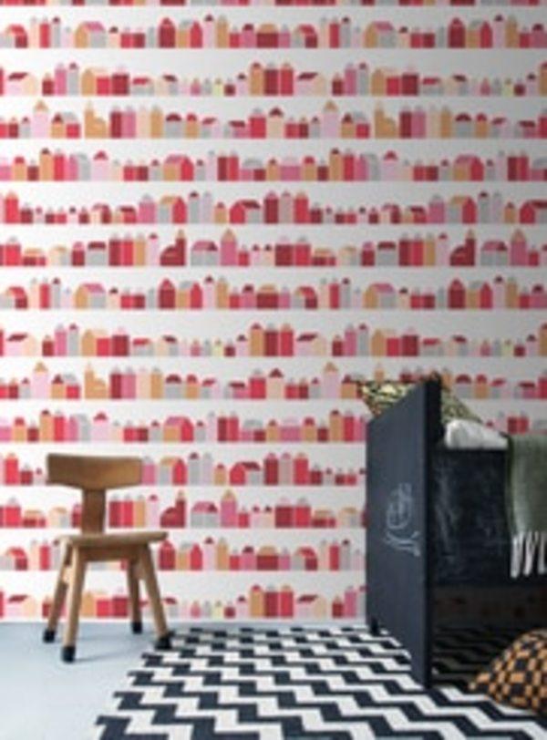 Inke HOUSES WALL PRINT - RED