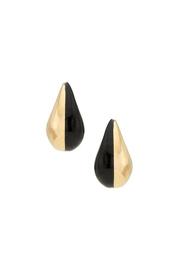 Soko Black Nene Teardrop Hoop Earrings - Brass