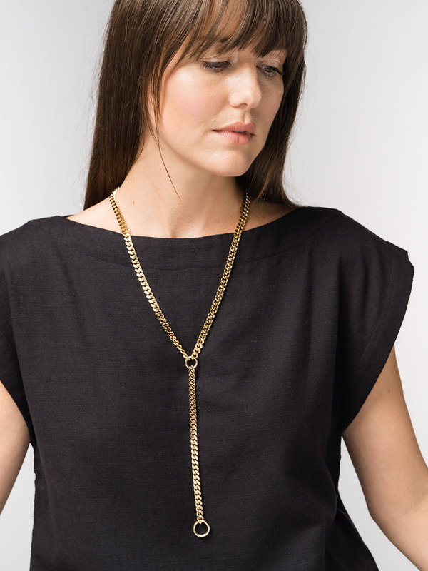 Tribe Alive Curb Chain Y-Shape Necklace - 18K Gold