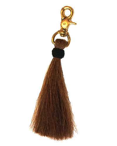 Oliveve brown horse hair tassel on brass clip