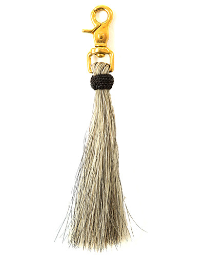 Oliveve grey horse hair tassel on brass clip