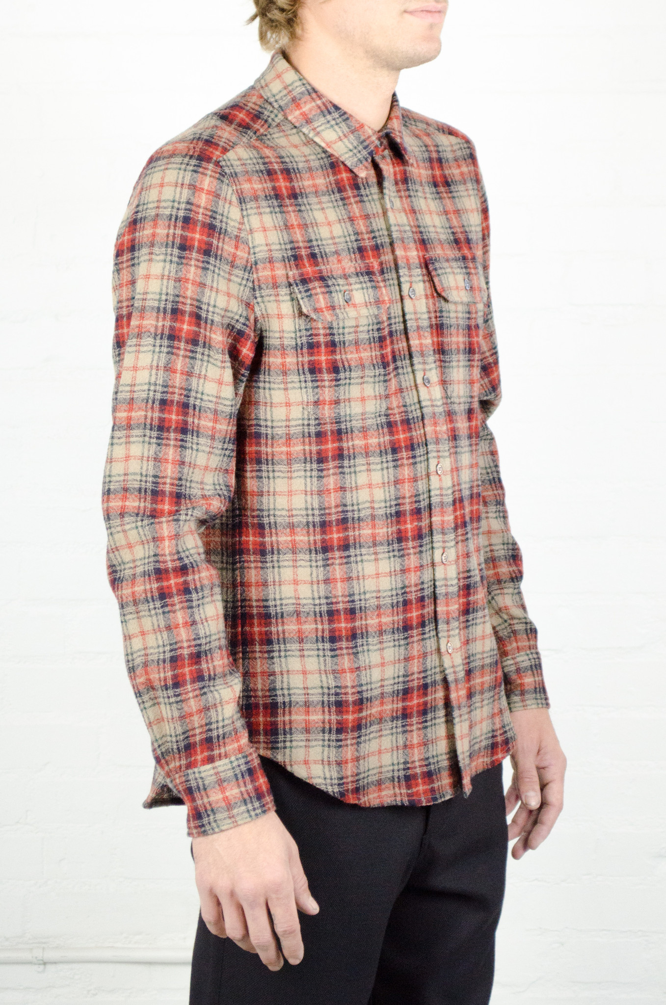 Men's Odin Worsted Wool Red and Tan Plaid Shirt | Garmentory