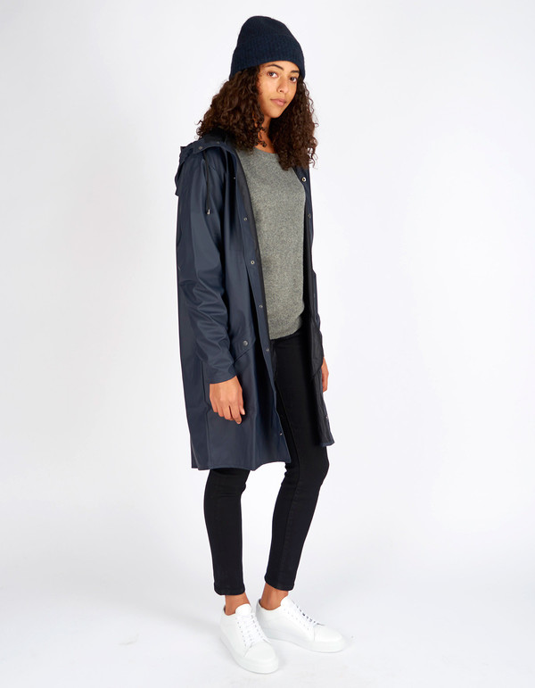 Rains Long Jacket Women's Blue | Garmentory