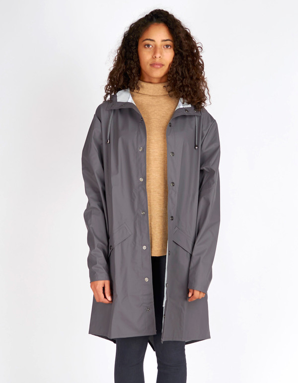 Rains Long Jacket Smoke | Garmentory