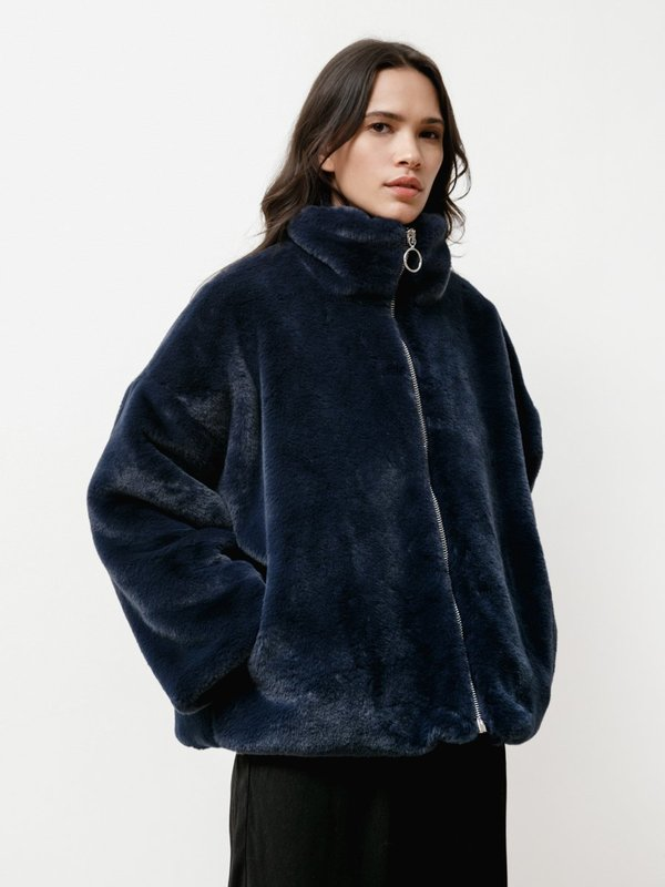 Priory Faux Fur Greatcoat - Navy