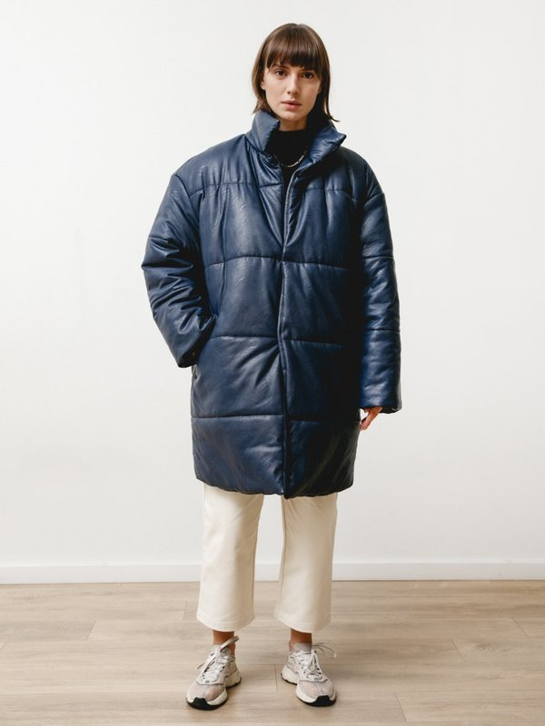 Priory Rare Earth Vegan Leather Puffer - Navy