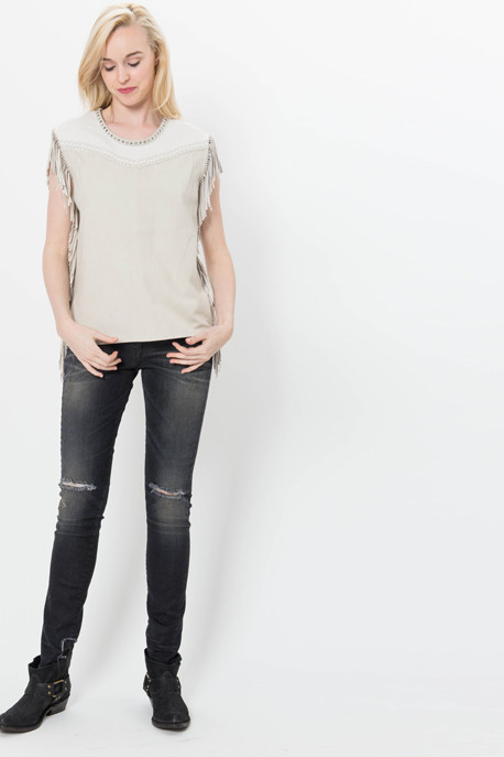 'Zuen' Sleeveless Suede Tee with Fringe