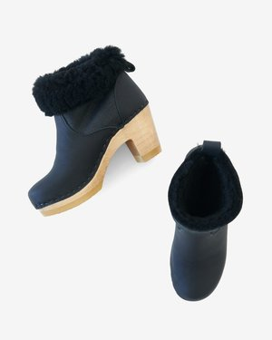 No.6 Pull On Mid Heel Shearling Clog Boot