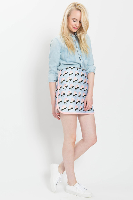 Mother of Pearl Betton Baby Rose Print Mini Skirt
