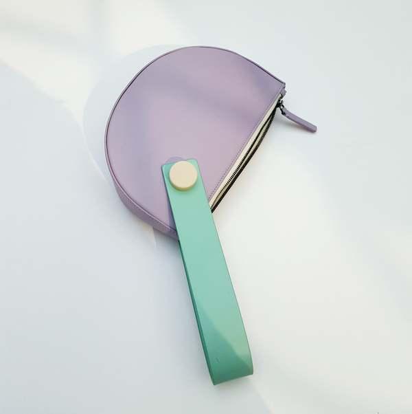 Matter Matters Mini Half Moon Clutch - Lilac/Mint