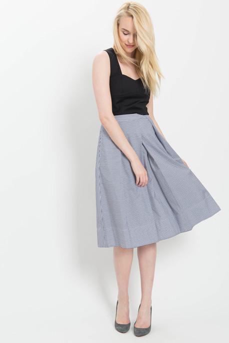 Full Skirt in Striped Shirting