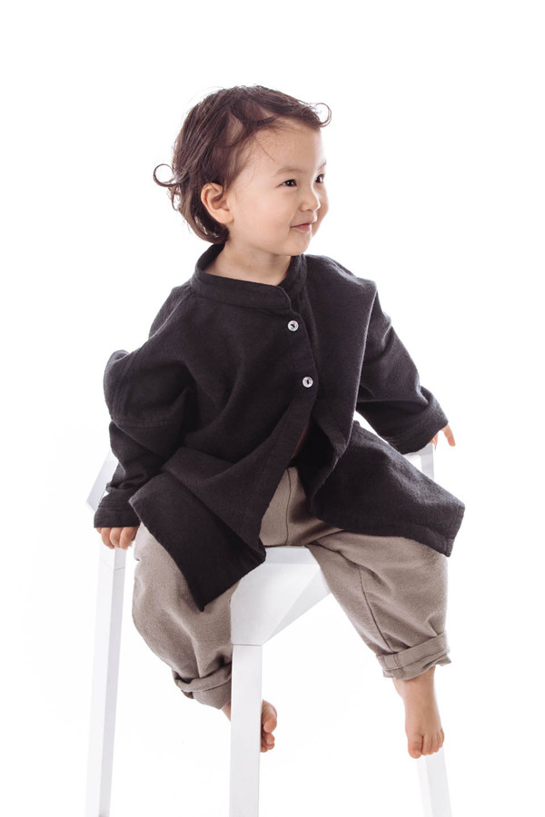 Black Crane Kids Square Shirt (Black)