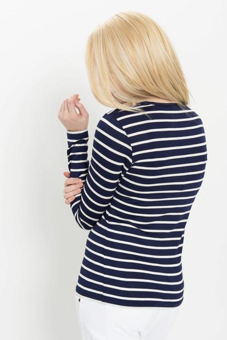 Long Sleeve Striped Tee in Navy