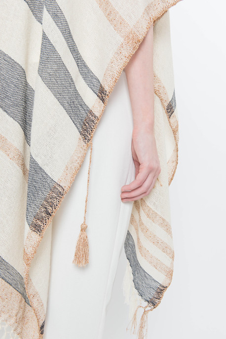 Metallic Striped Knit Poncho
