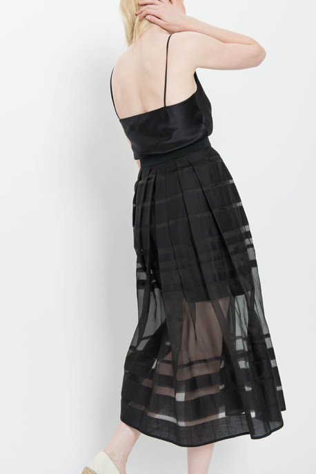 Tibi Midi Skirt with Striped Sheer Organza Panels