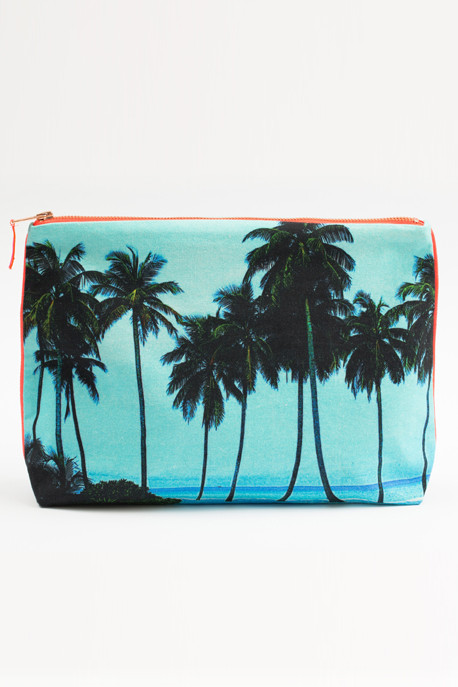Maldives Aqua Palm Canvas Pouch