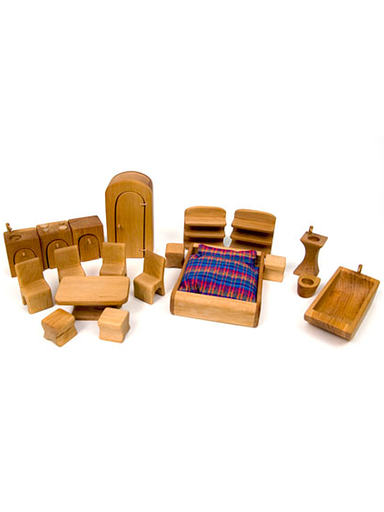 Norbert Verneuer Wooden Dollhouse Furniture Set, 19 Pieces - Norman & Jules