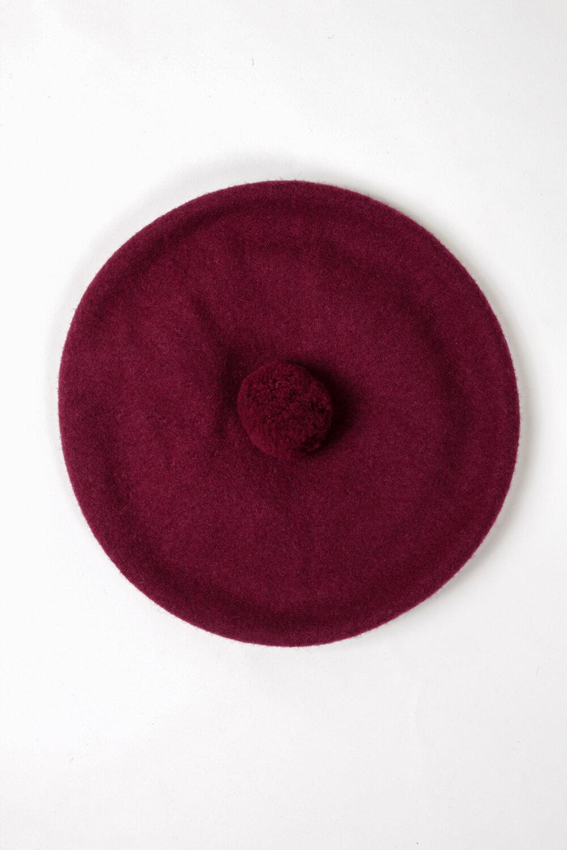 1950s Hats: Pillbox, Fascinator, Wedding, Sun Hats FOLD Wool Beret - Burgundy $78.00 AT vintagedancer.com