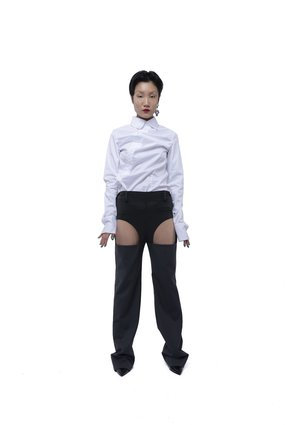 fey fey WORLDWIDE CUT OUT SUIT PANTS - Charcoal