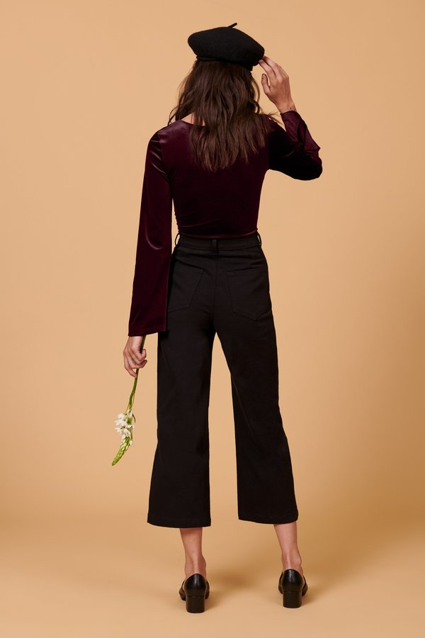 Whimsy + Row Alyssa Velvet Bodysuit - Plum