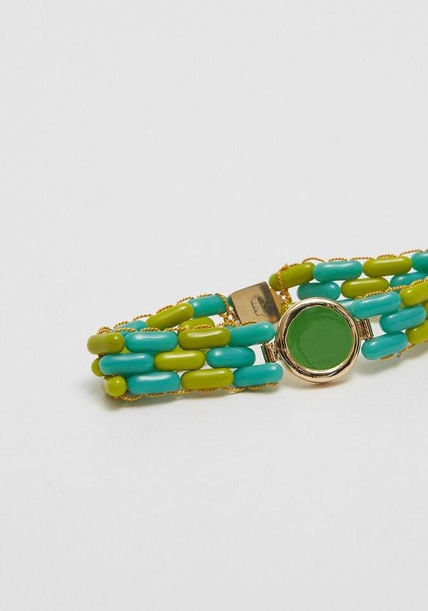 A. Carnevale Glass Bead Bracelet - Green