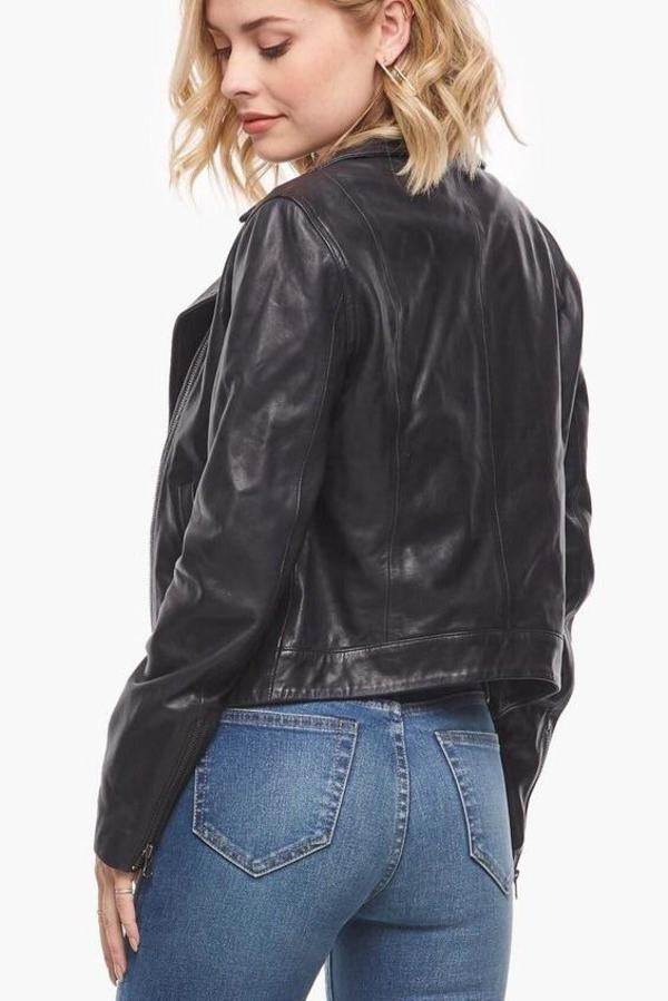 Mabel and Moss Ethically Made Leather Moto Jacket - Black