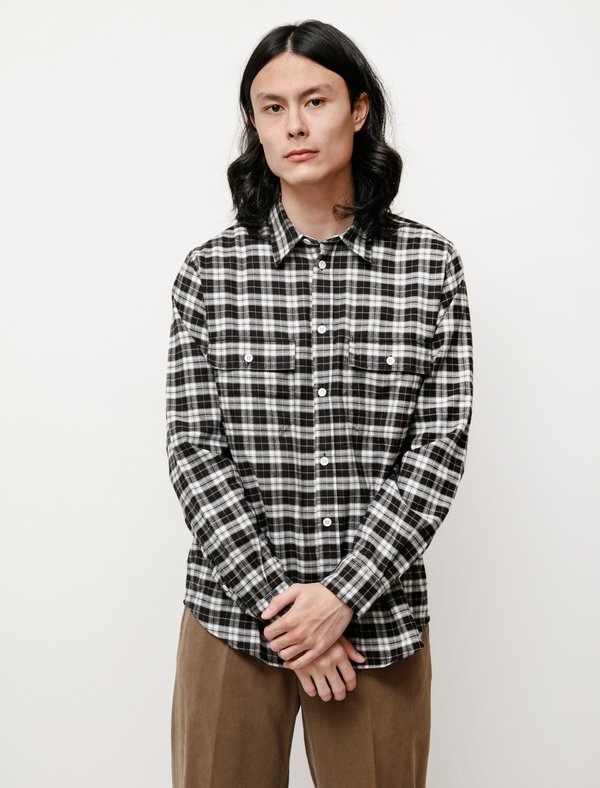 Norse Projects Villads Brushed Flannel Overshirt - Check Charcoal