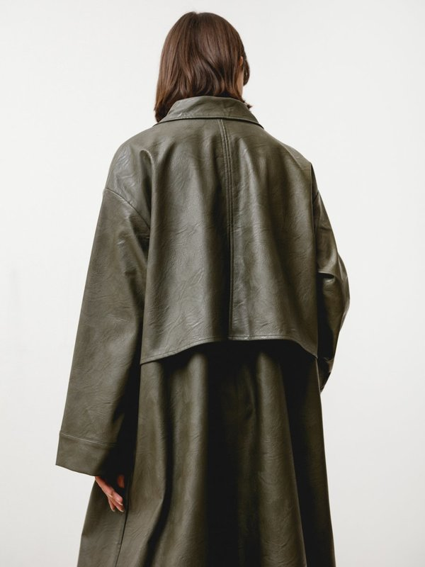 Priory Vegan Leather Bell Jacket - Green