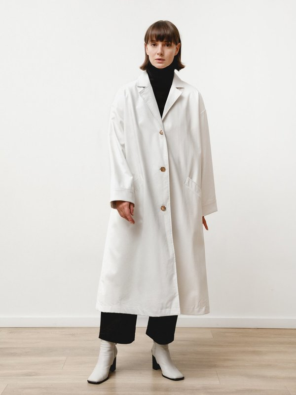 Priory Vegan Leather  Bell Jacket - White