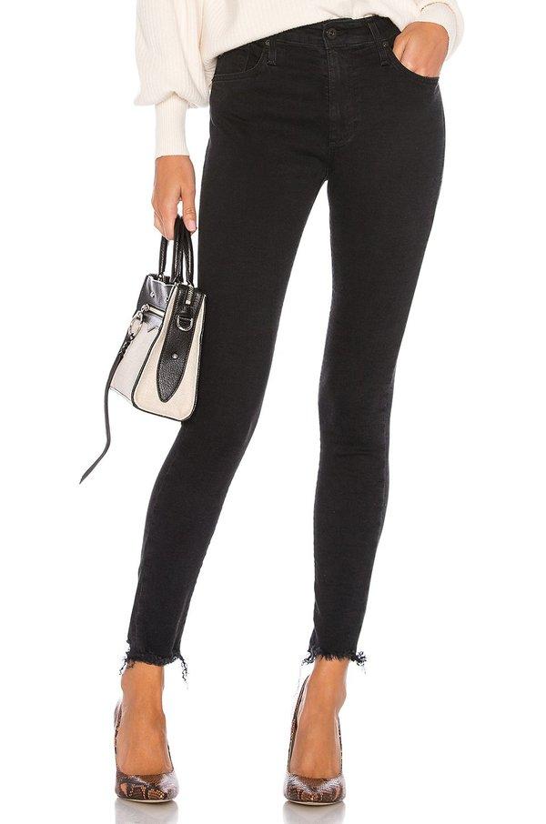 AG Jeans Farrah Raw Hem Skinny Ankle denim - Black Ink