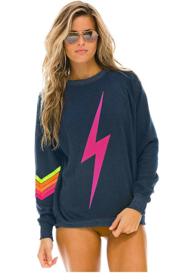UNISEX Aviator Nation Bolt Stitch Pullover - Navy/Neon pink