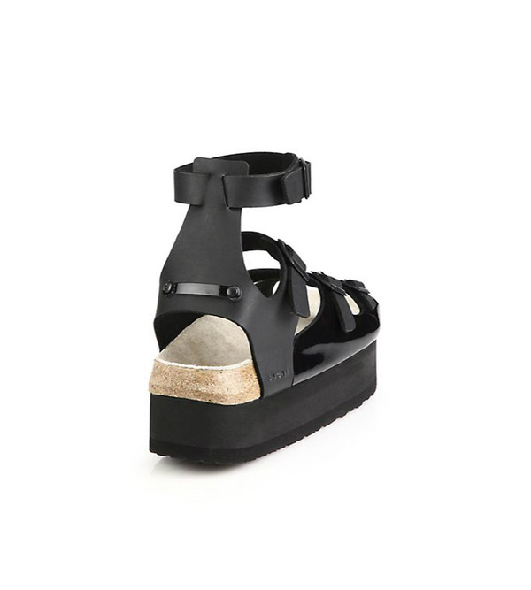 a3d4322f25e Sacai Luck Black Leather Multi-Strap Platform Sandals