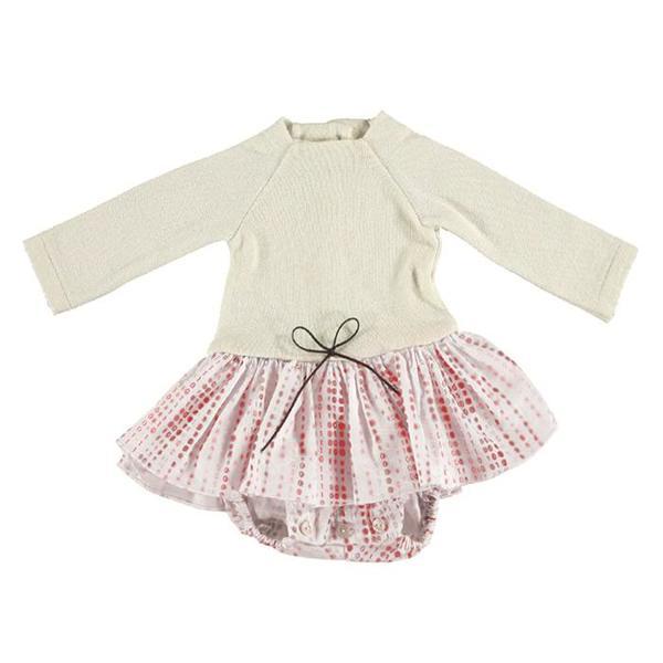Kids Pequeno Tocon Baby Dress With Tutu - Cream