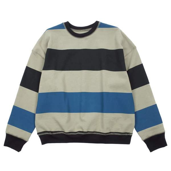 Noon Goons BIG STRIPE ICON SWEATSHIRT - BLACK/BLUE/SAND