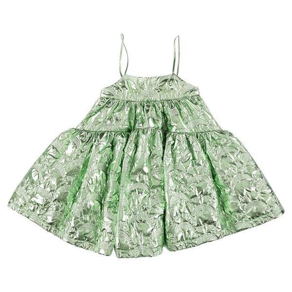 KIDS Caroline Bosmans Child Sleeveless Tiered Dress - Matte Metallic