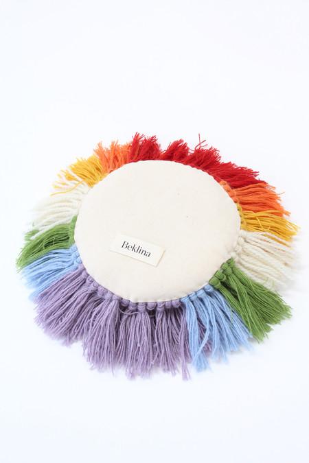 Artist Alpaca Handmade Fringe Pillow Rainbow Ivory