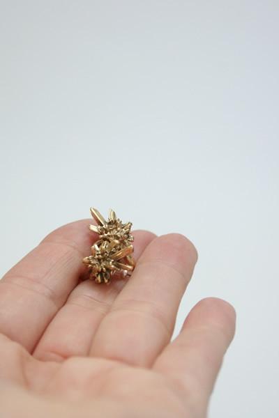 Artist Bronze Crystal Stud Earrings