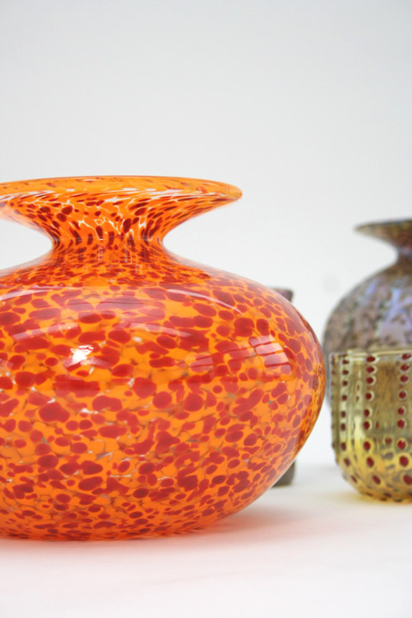 Artist Handblown Vase - Orange Leopard