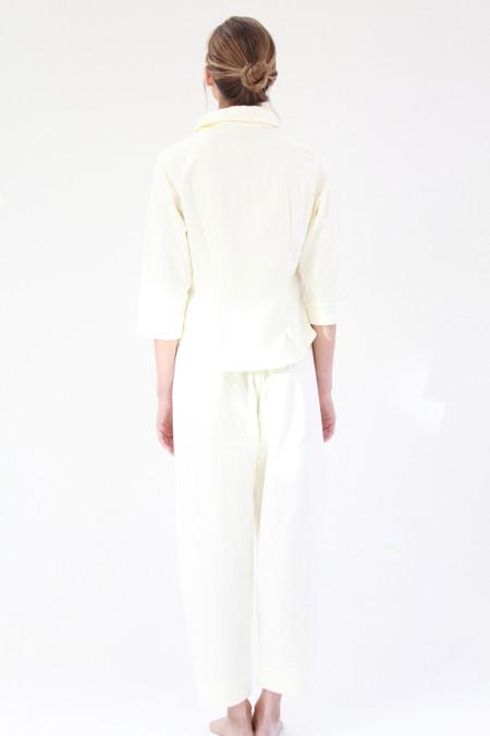 Lina Rennell Organic Cotton Flannel Pajama Set - Ivory