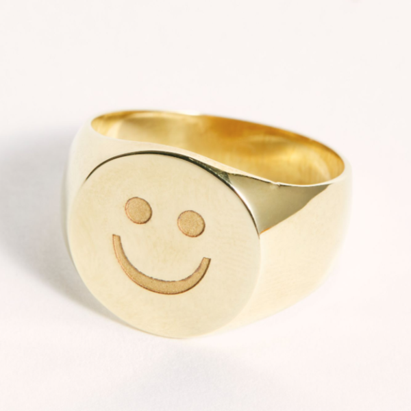 Tarin Thomas Frederick Smiley Face Ring - Yellow Brass