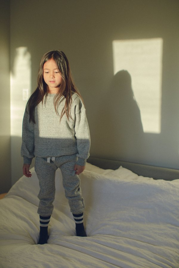 kids Petits Vilains Emil Cozy Sweatshirt - Speckle Grey