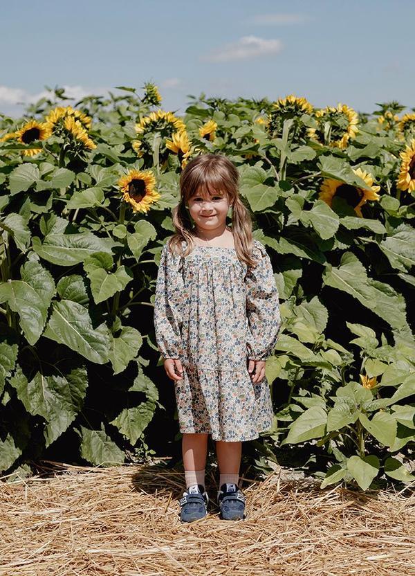 Kids Petits Vilains Maelle Square Neck Dress - Poppy Forest