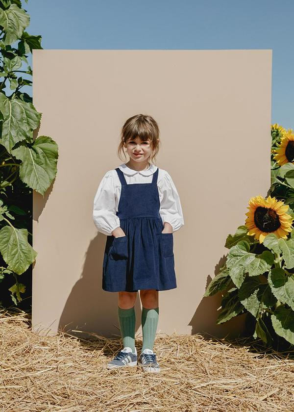 Kids Petits Vilains Inès Pinafore Dress - Navy