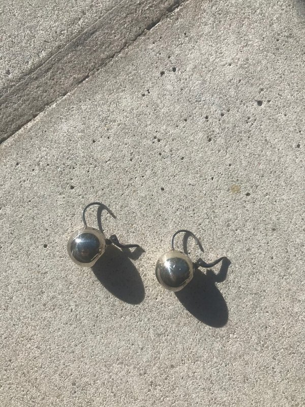 Vintage Globe Drop Earrings - Sterling Silver