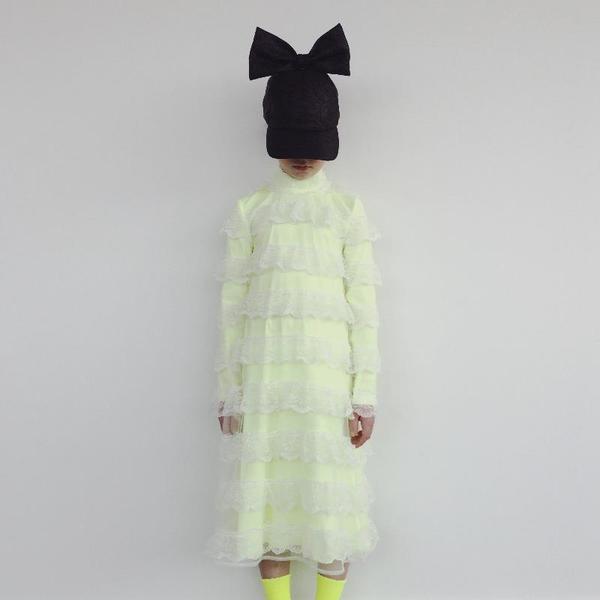 Kids Caroline Bosmans Broderie Dress - Yellow