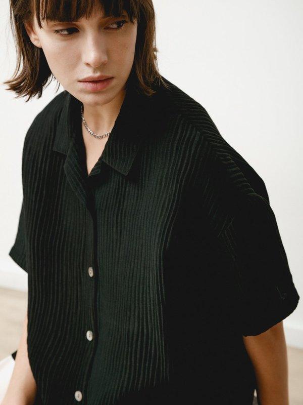 Priory Edition Silk Linen Shirt - Black